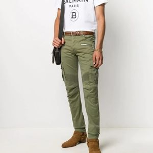 Balmain Tapered Fit Cargo Trousers in Olive Sz 29